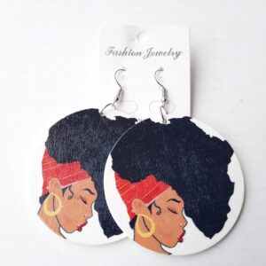 Round Women's Earrings with Traditional African Art 1