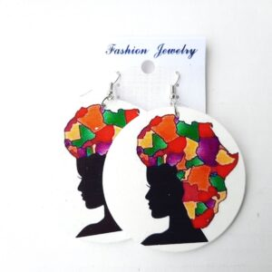 Round Women's Earrings with Traditional African Art 3