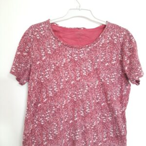 Floral Design Lady's T-shirt & Orange Striped T-shirt (Medium)