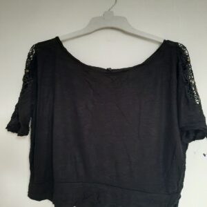 Black Netted Sleeve Crop Top (Extra Large)