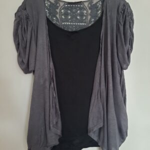 Black Women's T-shirt with Gray Coat (Extra Large)