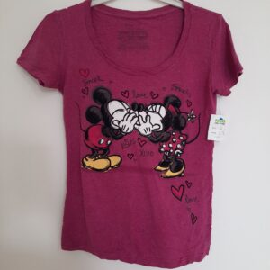 Purple Lady's T-shirts with Mickey Mouse Front (Small)