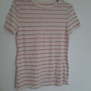 White T-shirt with Blue & Orange Stripes (Medium)