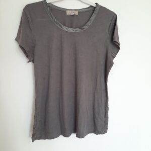 Grey Lady's T-shirt with Laced Neck (Extra Large)
