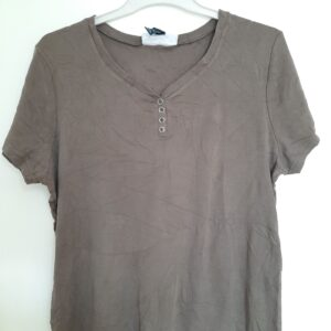 Brown T-shirt with Button Design (Extra Large)