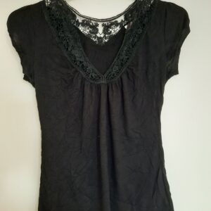 Black Lady's T-shirt with Designed Lace Neck (Small)