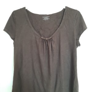 Brown Lady's T-shirt with Rings on Neck (Large)