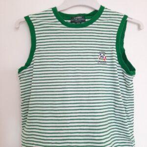Green & White Striped Sleeveless T-shirt (Medium)