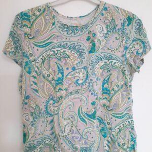 Beautiful Floral Patterned T-shirt & Plain White Sleeveless T-shirt  (Large)