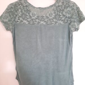 Green Lady's T-shirt with Floral Designed Sleeves (Large)