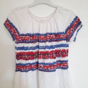 Stylish White T-shirt with Colorful Designs (Medium)