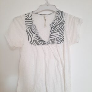 White T-shirt with Zebra Designs (Small)