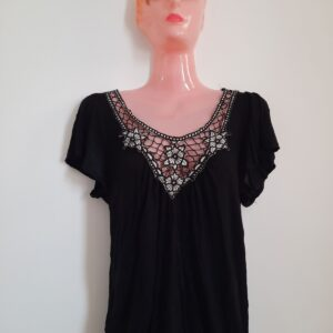 Black Women's Long T-shirt with Floral Net Design (Small)