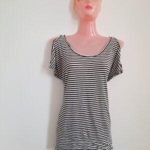 Black & White Stripes Sleeveless Girl's Top (Medium)