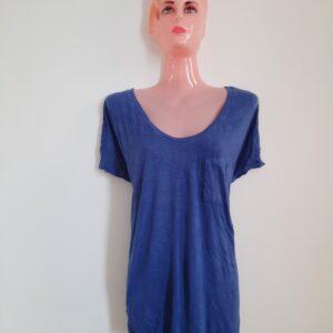 Stylish Long Blue Women's T-shirt (Extra Large)