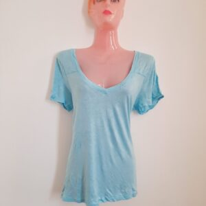 Light Blue V-Neck Lady's T-shirt (Medium)