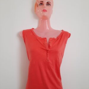 Red Orange Colored Girl's Sleeveless T-shirt  (Large)
