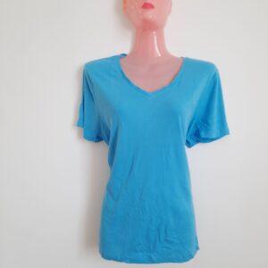 Blue V-Neck Lady's T-shirt (Medium)
