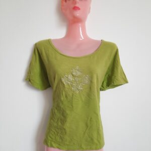 Beautiful Lime Green T-shirt with Designed Front (Medium)