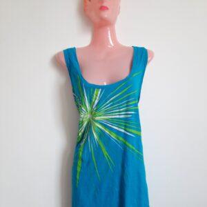 Fancy Blue Lady's T-shirt with Green Design (Medium)