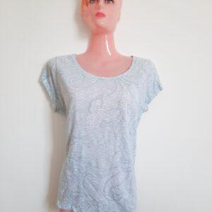 Fancy Light Blue T-shirt with Floral Designs (Medium)