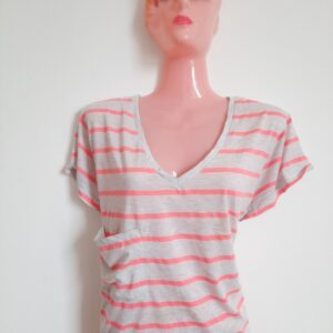 Beautiful Grey Lady's T-shirt with Pink Stripes and Cute Pocket (Medium)