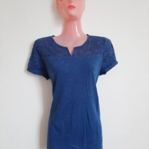 Amazing Blue T-shirt with Designed Net Top (Medium)