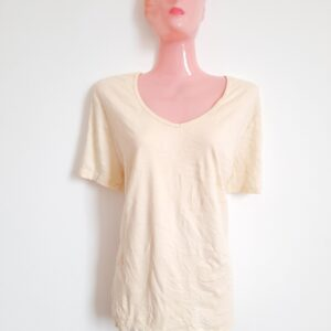 Simple Yellow V-Neck Lady's T-shirt (Extra Large)