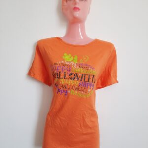 Amazing Orange Halloween Themed Lady's T-shirt (Large)