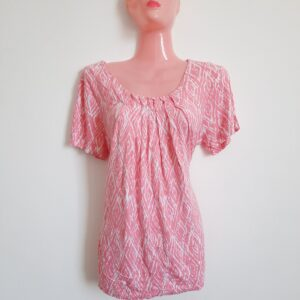 Beautiful Pink Lady's Top with Amazing White Patterns (Large)