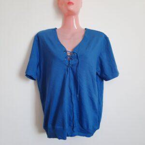 Blue Women's T-shirt with Unique Lace Design (Large)