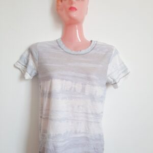 White & Light Blue Designed Girl's T-shirt (Small)