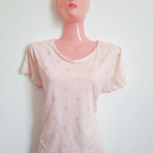 Elegant Pink T-shirt with Golden Design Overalls (Medium)