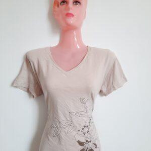 Smart Light Brown T-shirt with Beautiful Flower Design (Medium)