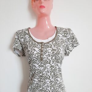 Beautiful Double Lady's T-shirt with Grey Pattern Overalls (Medium)