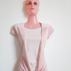 Amazing Stylish Pink & White Double Girl's T-shirt (Small)