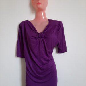 Women's Purple T-shirt with Unique Front Design (Medium)