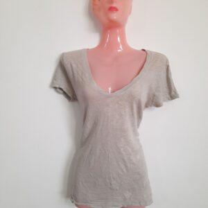 Grey Girl's Wide V-Neck T-shirt  (Medium)