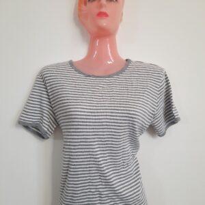 Stylish White & Grey Striped Lady's T-shirt (Medium)