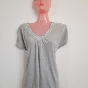 Beautiful Gray T-shirt with Designed Neck (Large)